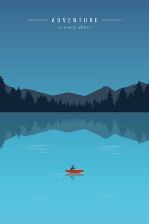 canoeing adventure with a red boat on a turquoise lake vector illustration