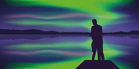 couple by the lake enjoy beautiful polar lights vector illustration Vector Illustratie