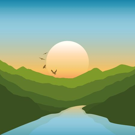 peaceful river in the mountains green summer landscape at sunset vector illustration Illustration