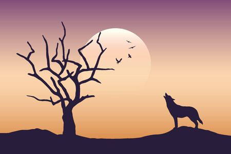 wolf is howling to the full moon scarry landscape with bare tree vector illustration EPS10