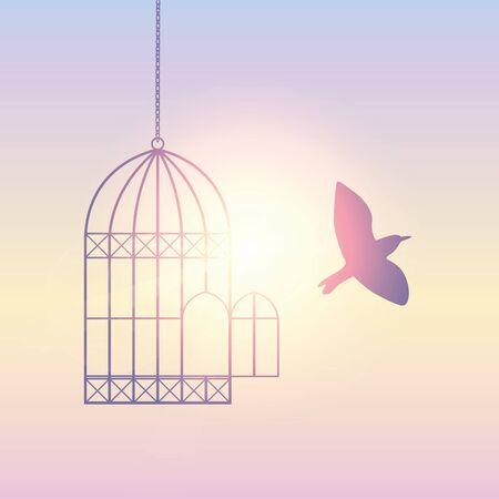 bird flies out of the cage into the sunny sky vector illustration Illustration