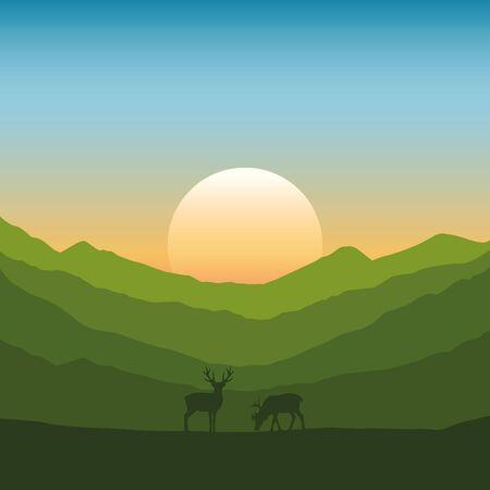 wildlife deer on autumn mountain landscape at sunset vector illustration EPS10 Illustration