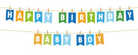 happy birthday baby boy party flags banner isolated on white background vector illustration