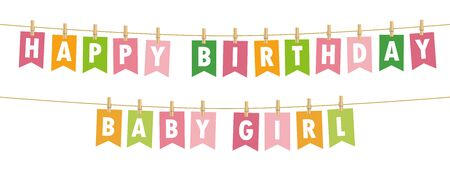 happy birthday baby girl party flags banner isolated on white background vector illustration