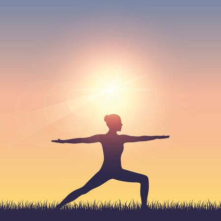 girl makes yoga on summer meadow at sunshine vector illustration EPS10