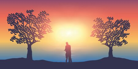 couple in love on a sunny day stands between two trees by the ocean vector illustration EPS10