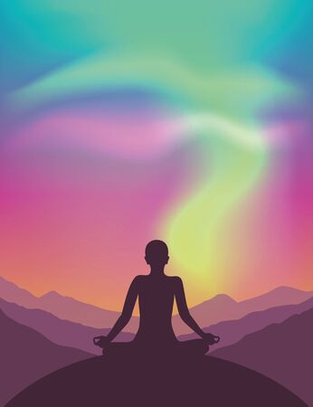 peaceful meditation on mountain view with beautiful polar lights in colorful sky vector illustration EPS10 Vectores