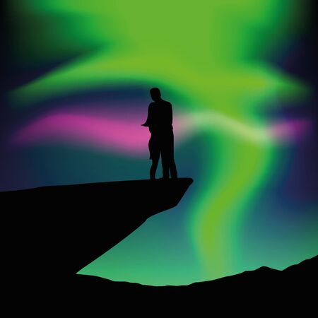 couple in love on a cliff silhouette with polar lights vector illustration EPS10  イラスト・ベクター素材