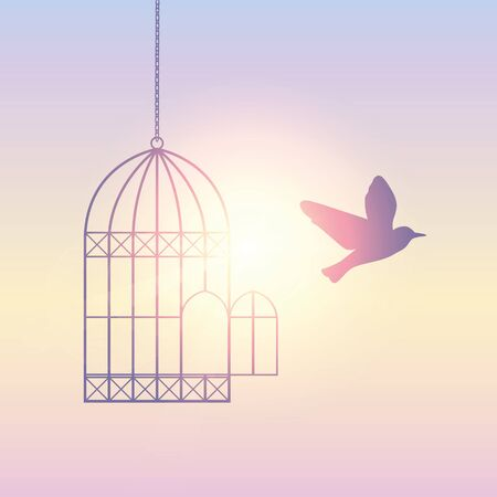 bird flies out of the cage into the sunny sky vector illustration EPS10