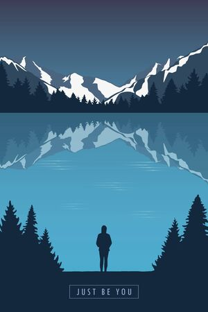 adventure girl in the mountains by the lake in the wilderness landscape vector illustration