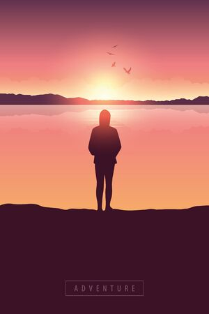 lonely girl at sunrise by the lake with mountain view vector illustration EPS10 Ilustração