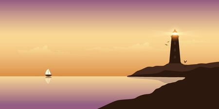 sailboat and lighthouse by the ocean at sunset beautiful seascape vector illustration Vecteurs