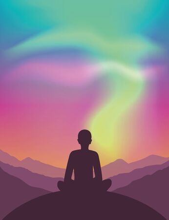 peaceful meditaiton on mountain view with beautiful polar lights in colorful sky vector illustration EPS10