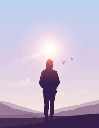 lonely girl silhouette at sunny summer sky background vector illustration EPS10 Vettoriali