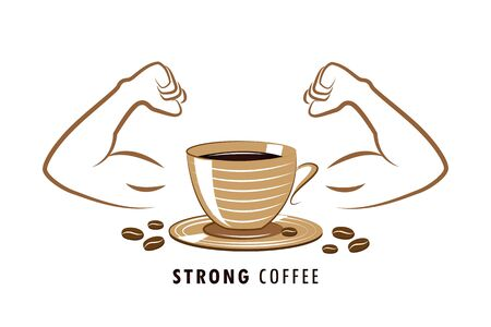 strong coffee with muscular arms vector illustration EPS10