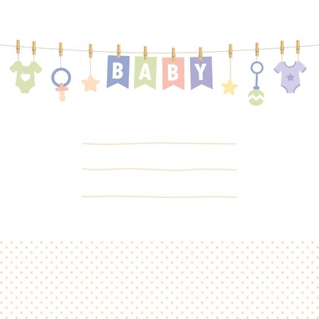 baby shower welcome greeting card for childbirth with hanging utensils vector illustration EPS10 Ilustração