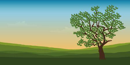 big tree in summer green mountain landscape vector illustration EPS10