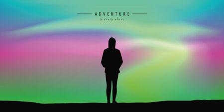 lonely happy on aurora borealis beautiful polar lights background vector illustration