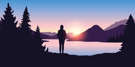 lonely girl by the river in forest nature landscape at sunrise vector illustration