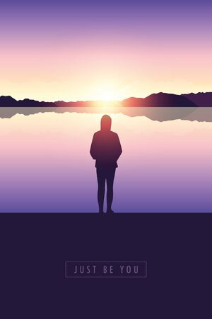 lonely girl silhouette by the lake at sunset vector illustration