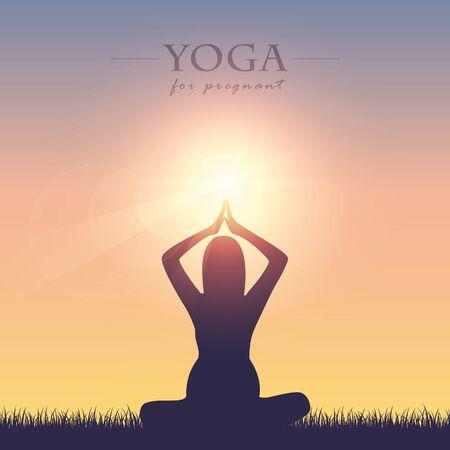 yoga for pregnant women silhouette on summer meadow at sunshine vector illustration EPS10 Illustration