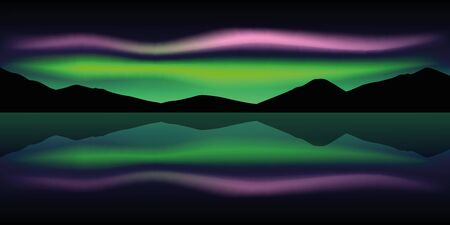 aurora borealis beautiful polar lights in the mountains by the lake vector illustration EPS10