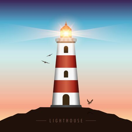 shining lighthouse at sunset with flying birds vector illustration