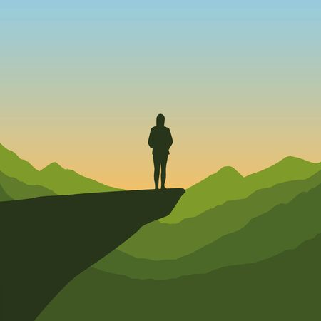 lonely girl on a cliff silhouette with mountain background vector illustration EPS10