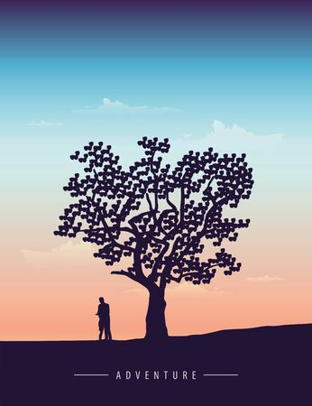 couple in love stands under a big tree at sunset vector illustration