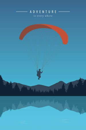paragliding adventure by turquoise lake vector illustration EPS10