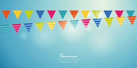 summer time blue sky background with colorful party flag vector illustration EPS10