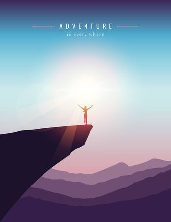 girl on a cliff mountain landscape at beautiful sunset vector illustration