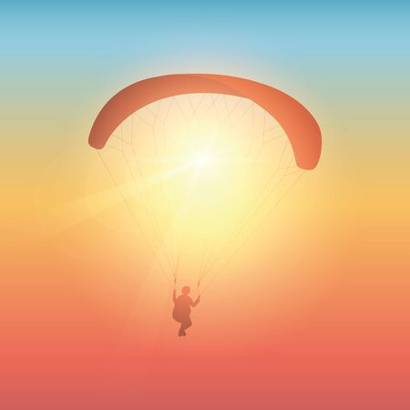 paragliding in sunny colorful sky vector illustration 矢量图像