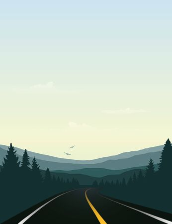 road trip asphalt road in the mountains vector illustration EPS10