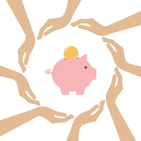 piggy bank with coin in the middle of human hands vector illustration EPS10