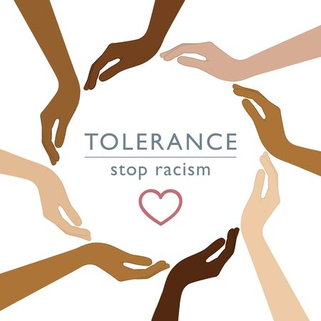 stop racism tolerance concept with human hands with different skin colors vector illustration