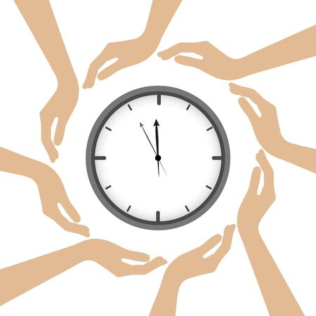 clock in the middle of human hands vector illustration EPS10 Vectores