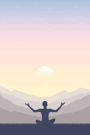 meditation concept silhouette with mountain background vector illustration