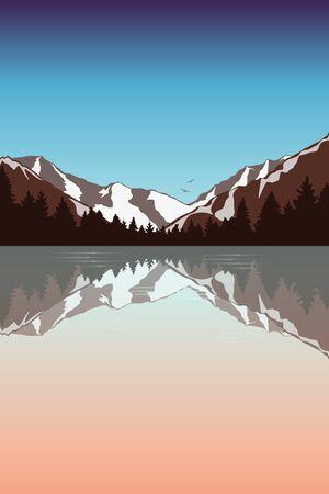 mountain landscape by the lake in the wilderness vector illustration Illusztráció