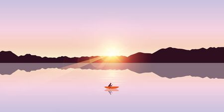 lonely canoeing adventure with orange boat at sunrise on the lake vector illustration