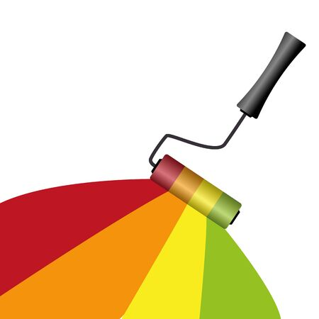 painting with different colors with roller on white background vector illustration EPS10