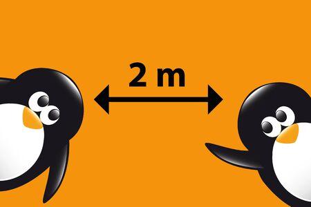 social distance funny penguins cartoon on orange background vector illustration