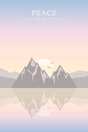 peace of mind mountain by the sea landscape vector illustration EPS10