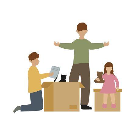 family packs boxes when moving vector illustration EPS10