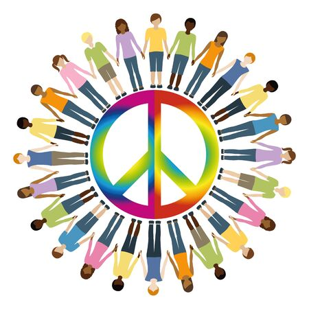 children with different skin color around peace symbol vector illustration EPS10