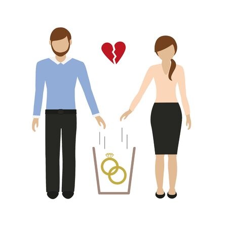 woman and man throws wedding rings in the trash vector illustration