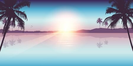 paradise palm beach landscape summer background vector illustration EPS10