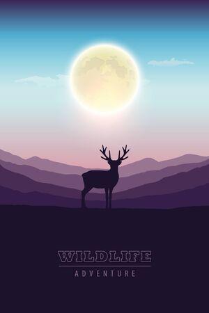 wildlife adventure elk in the wilderness at night by full moon vector illustration EPS10