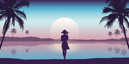young girl with hat on summer holiday tropical palm and sea landscape vector illustration