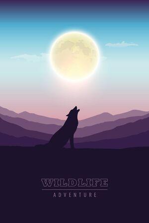 wildlife adventure wolf in the wilderness howling to the full moon vector illustration EPS10 Vektoros illusztráció